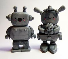 Wedding Cake Topper ROBOT Bride and Groom by TheHappyAcorn on Etsy, $90.00