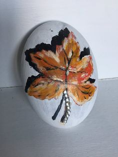 Hand Painted Rock #XmasGift #UniqueGift #ChristmasGift #HandMadeRock #IrishConcrete #IrishGift #CraftRock #Leaf #LeafRock #HandPaintedRock