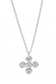Five hand-set CZ stones grace this delicate sterling silver chain in a elegant cross motif.  You will wear this religiously!  On Sale $44.25