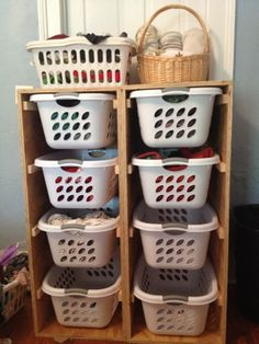 The Feminist Housewife: This Season. Laundry Basket Shelves, Laundry Basket Organization, Laundry Bin, Plastic Laundry Basket, Diy Pallet Projects, Home Projects, Laundry Room Bathroom, Housewife, Diy Furniture
