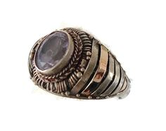 Amethyst Sterling Silver Ring   Vintage Ethnic by InVintageHeaven, $30.00