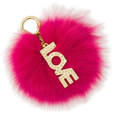 Michael Michael Kors  Love Pom Pom Keychain ($78) ❤ liked on Polyvore featuring accessories, ultra pink, michael michael kors, pom pom key chain and fob key chain