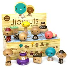 Jibibuts : Case of 12 - Noferin continues to bring fine quality wooden figures to your door with their adorable blindbox series, the Jibibuts. Fun for adults and children alike!<p>One display case guarantees a complete set. There are 12 characters to collect plus two super secret rare Gold and Silver editions packed randomly. Sizes range from 2.5 - 3.5 inches.  Made from sustainably harvested rubber wood.<p>Jibibuts are long-lived forest dwellers native to the west coast of Carrara Island…