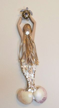 Ivory Mermaid Wall Sculpture with Sea Turtle by PepShrimp on Etsy, $235.00