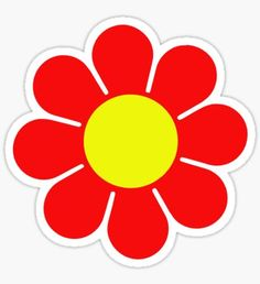 'Red Yellow Hippy Flower Daisy' Sticker by Dot Art Painting, Bottle Cap Images, Flower Clipart, Hippie Art, Hanging Hearts, Flower Template, Floral Border, Aesthetic Stickers, Flower Photos