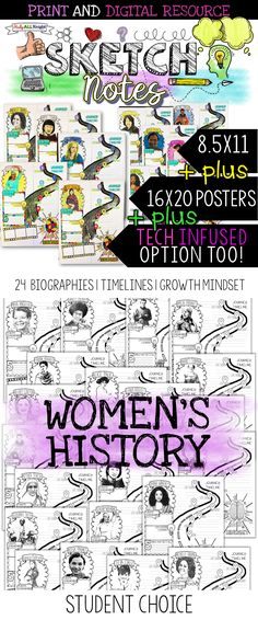 English language arts | middle school ELA | language arts | secondary ELA | March is Women's History Month. This Women's History research activity is creative and filled with opportunities for differentiation. Biographies, timelines, growth mindset, and online research allows your students to take visual notes using the eye-catching sketchnotes! Includes the 8.5x11 pages, collection of posters and access to the GOOGLE drive resource. Also for social studies | history. ($)