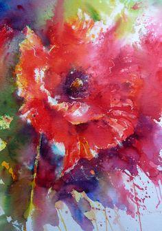 """Juicy Red Poppy"" - by Joanne Boon Thomas,  (Brusho)"