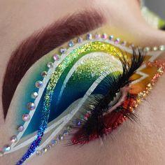 Makeup Eye Looks, Eye Makeup Art, Colorful Eye Makeup, Fairy Makeup, Eyeshadow Makeup, Beauty Makeup, Makeup Geek, Cheer Makeup, Rave Makeup