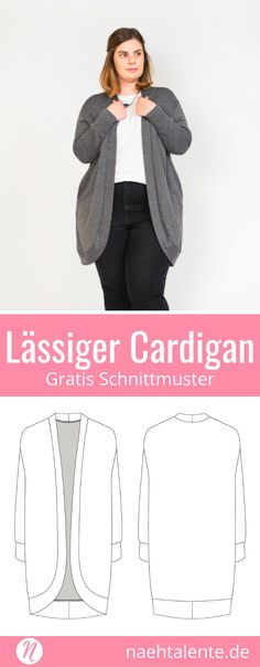 Gratis Schnittmuster für eine lässige Damenstrickjacke. Gr. 34 - 52. Geeignet für Strickstoffe, Sweatshirt, Jersey oder French Terry ✂️ Nähtalente - Das Magazin für Hobbyschneider/innen ✂️ Free sewing pattern for a slouchy cardigan for woman. Size 34 - 52. For knit fabrics, sweatshirt, jersey or french terry. #nähen #freebook #schnittmuster #gratis #nähenmachtglücklich #freesewingpattern #handmade #diy