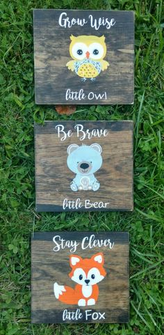 Woodland animals wall art, woodland creatures set of 3 signs, nursery deco , clever fox, wise owl, brave bear, Hand painted rustic wood, forest animals, gift for baby, baby shower gift idea, woodland nursery decor, farmhouse nursery decor, farmhouse signs, rustic nursery decor, home decor, rustic sign #ad