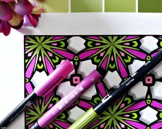 I love the green and magenta combination in this picture!  Surprisingly different coloring experience. A beautiful 'stained glass' effect lends richness to your coloring that really satisfies.  - 50 uniquely patterned coloring pages - The graceful shapes are given dimension by using Lovely Leisure's distinctive shadowing effect, enhancing your final colored design. - These designs have the illusion of 3D that makes your coloring really pop!  Coloring is a noted to act as a stress reliever
