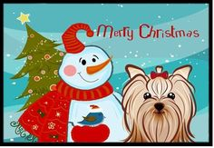 Snowman with Yorkie Yorkishire Terrier Mat