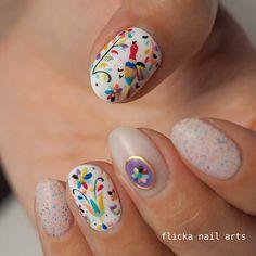 nail artist SAORI 中川さおりさんはInstagramを利用しています:「Mexican embroidery ショートネイルやフットにかわいい」