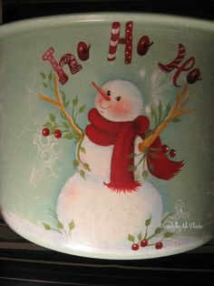 Hand painted snowman...design by Sandra Malone painted by me. See more at Serendipity Art Studio.