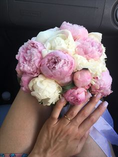 Pink and white peonies bouquet wedding bouquet