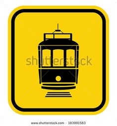 caution tramway - stock vector