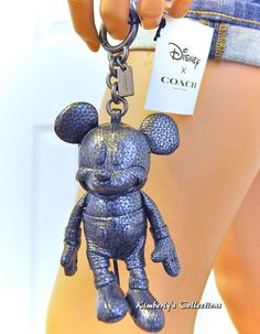 e115ba00fa55 Coach X Disney F59152 Mickey Mouse Leather Doll Keychain Bag Charm