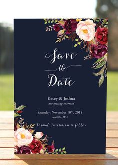 The Kacey Collection  Impress your future wedding guests with this gorgeous & professionally designed CUSTOM SAVE THE DATE CARD featuring a stunning combination of fresh modern fonts and lovely watercolor flowers!  You will receive your customized invitations by email after you make your purchase; so you can print as many as you like.   ----------++ BUILD YOUR SUITE ++----------  == This Listing INCLUDES:  - Save the Date Card: 4 x 6 - Invitation Back-side/Backer OPTIONS AV...