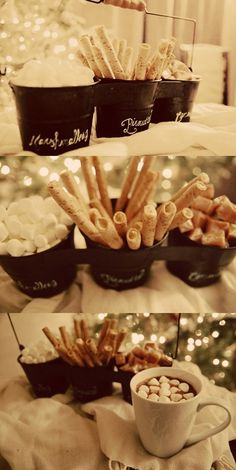 A hot cocoa bar can be dressed up with sweet accompaniments. Cinnamon sticks, marshmallows of different sizes, flavored liqueurs and more!