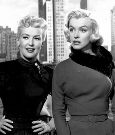 "Marilyn Monroe with Betty Grable on the set of ""How To Marry A Millionaire"", 1953."