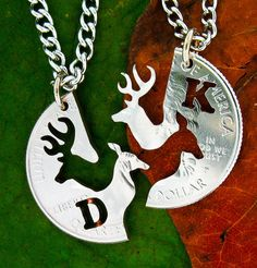 Buck and Doe love quarter customized with one initial each, hand cut coin James and Lily from Harry Potter. I love this. Letter Necklace, Men Necklace, Lily Potter, Harry Potter, Couple Necklaces, Friend Necklaces, Country Girls, Country Life, Silver Coins