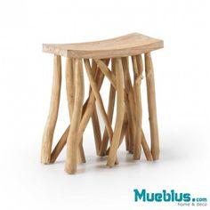 Mesa auxiliar y taburete en madera de teca FOREST