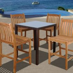 $1816.99 Century 5 Piece Wicker/Teak Patio Bar Height Dining Set  Table + 4 chairs (with backs)