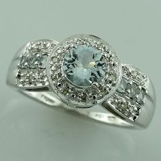 Aquamarine Fabulous Ring 10K White Gold Awesome Genuine Top Diamond Jewelry #SGL #ExclusiveCollection