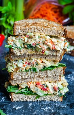 Healthy Meals Easy Vegan recipes and meals! - This tasty Garden Veggie Chickpea Salad Sandwich is a plant-based powerhouse of a lunch! Make it in advance for a party or picnic or to take along as an easy weekday lunch for work or school. Vegan Recipes Easy, Vegetarian Recipes, Cooking Recipes, Cooking Pasta, Cooking Games, Vegan Meals, Cooking Tools, Vegetarian Chicken, Budget Cooking