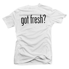 Got Fresh? White/Black Tee ($30) ❤ liked on Polyvore featuring tops, t-shirts, shirts, tees, shirt top, black white top, t shirt, black and white top and white and black top
