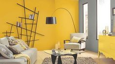 """Framing Suggestion For Diptych from the Series: """"From the Forest Floor"""" Yellow Living Room Paint, Yellow Dining Room, Living Room Colors, Living Rooms, Grey Painted Rooms, Living Room Color Combination, Sitting Room Decor, Room Wall Painting, Home Room Design"""
