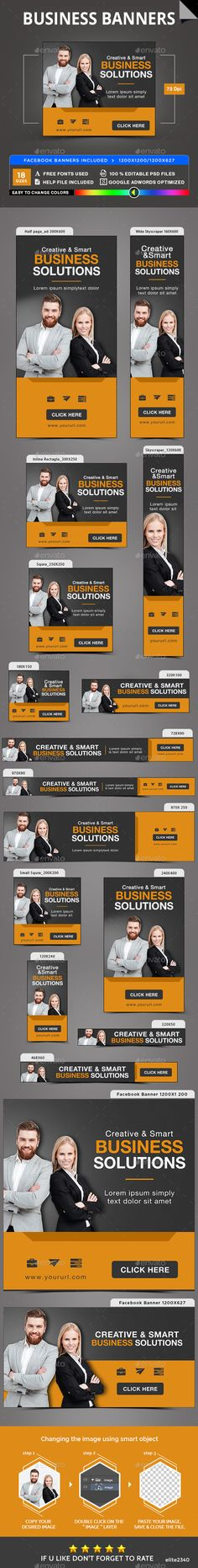 Promote your Products and services with this great looking Banner Set. 18 awesome quality banner template PSD files, including Fa