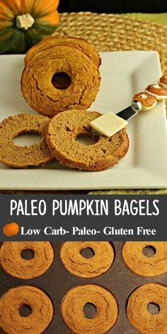 Pumpkin Spice Bagels are low carb, grain free, starch free, nut free, with dairy free and paleo options. via /staceyloucraw/ Paleo Dessert, Paleo Sweets, Diet Desserts, Diet Drinks, Dessert Recipes, Keto Foods, Paleo Diet, Paleo Bread, Desayuno Paleo