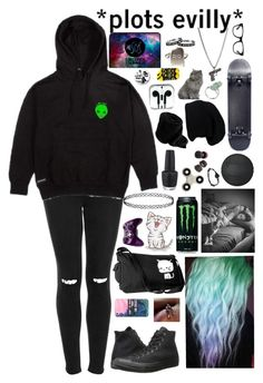 """I'm just a sucker for anything that you do."" by xxghostlygracexx ❤ liked on Polyvore featuring Topshop, RIPNDIP, Converse, Casetify, Microsoft, OPI, Hot Topic and E.vil"