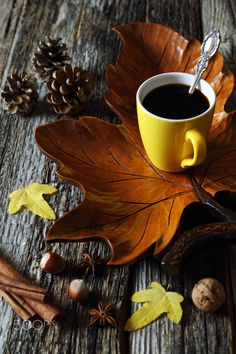 Cup of coffee on wooden maple leaf - Cup of coffee on decorative wooden maple leaf, nuts and autumn leaves