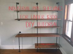 I found a lot of inspiration and direction for DIY industrial pipe shelving on pinterest, specifically a tutorial from diyshowoff.com, but I wanted to make it my own and add a desk part for ...