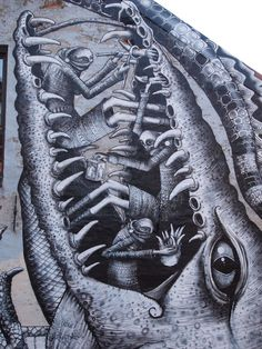 Sheffield-based street artist Phlegm is back with a new jaw-dropping mural he created for the All Rights Destroyed Festival in Oslo, Norway.
