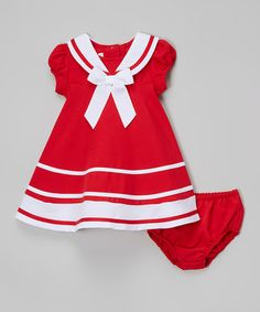 Look what I found on #zulily! Red & White Nautical Bow Dress - Infant, Toddler & Girls #zulilyfinds