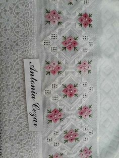 This Pin was discovered by Des Types Of Embroidery, Ribbon Embroidery, Embroidery Patterns, Hardanger Embroidery, Cross Stitch Embroidery, Cross Stitch Borders, Cross Stitching, Bookmark Craft, Embroidery Stitches