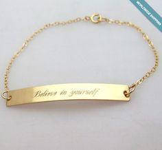 Custom Gold Bar Bracelet - Nameplate Bracelet - Skinny Gold Bracelet for Her #NadinArtDesign #IDIdentification