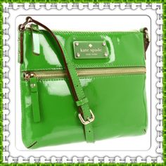 Kate Spade Patent Leather Crossbody Bag Fuel your optimistic, playful personality with the Kate Spade Green Bag. This crossbody  bag is made of patent cowhide. Color: wheatgrass. Holds your wallet, keys, lip gloss, a smartphone & more! Adjustable crossbody strap. Front zip pocket with leather zipper pull. Interior slip pocket. ksny gold embossed signature on resin license plate. Top zip closure. Custom woven suite spot faille lining. New and never used!! 100% Authentic. No Trades, No PP…