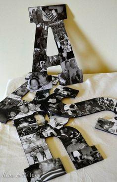 Letras de cartón cubiertas de fotografías en blanco y negro. Estas manualidades sirven tambien para agregar como decoración de tu boda.
