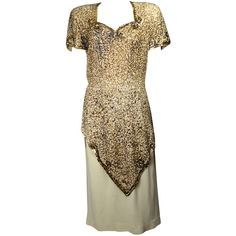 Preowned Exquisite 1940s Sequined Cocktail Dress ($495) ❤ liked on Polyvore featuring dresses, vintage, multiple, sleeve cocktail dress, brown dress, sequin cocktail dresses, sequin dress y overlay dress