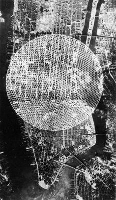Buckminster Fuller, Manhattan Island Dome, ca. Paper Architecture, Concept Architecture, Architecture Design, Richard Buckminster Fuller, Manhattan, Rainbow City, Cities, Geodesic Dome, Art Moderne