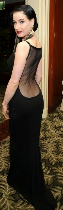 Low cut back dress covered in sheer material
