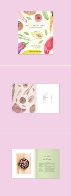 Cookbook by Danielle Vazquez, Shillington Graduate Recipe Book Design, Cookbook Design, Web Design, Food Design, Design Editorial, Scrapbooks, Book Design Layout, Branding, Book Projects
