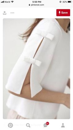 40 Latest Sleeve Designs to Try With Kurtis Kurti Sleeves Design, Sleeves Designs For Dresses, Sleeve Designs, Blouse Designs, White Blouse With Bow, Cut Up Shirts, Bow Shirts, Shirt Blouses, Diy Clothes