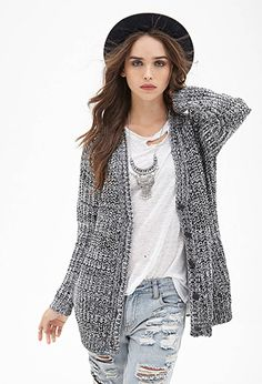 Marled Knit Longline Cardigan | Forever 21 Canada