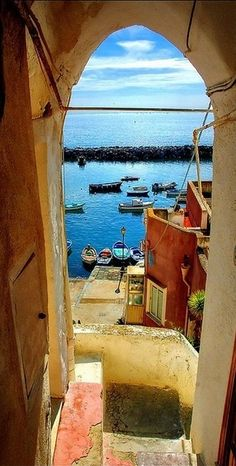 Secret passage down to the Port of Corricella ~ isle of Procida near Naples, Italy  Campania