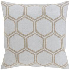 Surya Honeycomb Metallic Stamped Beige and Light Gray Pillow